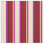 [ Thumbnail: Deep Pink, Purple, Tan, Dark Red & Black Pattern Fabric ]