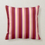 [ Thumbnail: Deep Pink, Purple, Tan, Dark Red & Black Pattern Throw Pillow ]