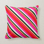 [ Thumbnail: Deep Pink, Red, Tan, Black & Mint Cream Colored Throw Pillow ]