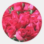 Deep Pink Rose Bouquet Round Stickers
