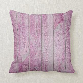 Deep Pink Rose Glam Metallic Wood Cottage Throw Pillow