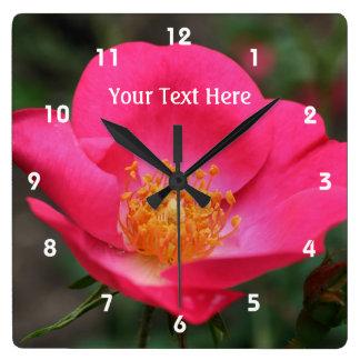 Deep Pink Rose In Bloom Flower Clocks
