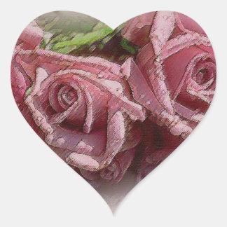 Deep Pink Roses - Heart Sticker
