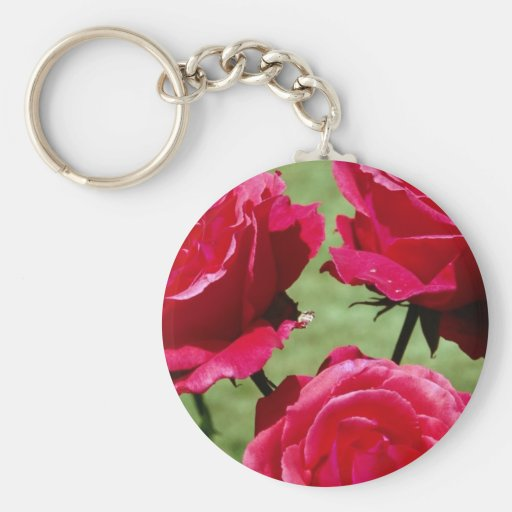 Deep Pink Roses Keychain