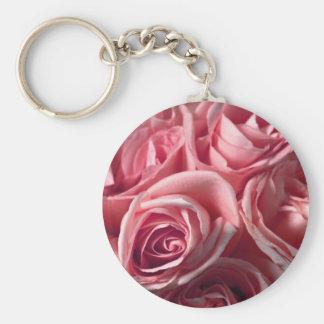 Deep Pink Roses Basic Round Button Keychain