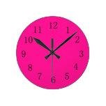 Deep Pink Round (medium) Wall Clock at Zazzle