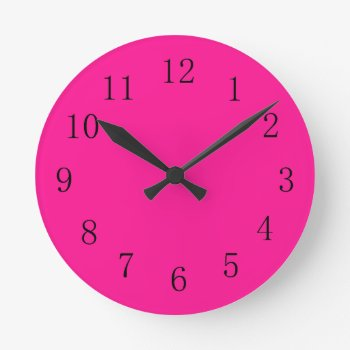 Deep Pink Round (medium) Wall Clock by Red_Clocks at Zazzle