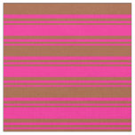 [ Thumbnail: Deep Pink & Sienna Colored Lined Pattern Fabric ]
