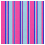 [ Thumbnail: Deep Pink, Sky Blue, and Blue Colored Stripes Fabric ]