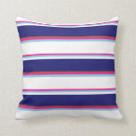[ Thumbnail: Deep Pink, Sky Blue, White, Midnight Blue & Sienna Throw Pillow ]