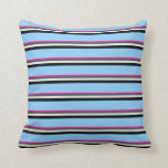 [ Thumbnail: Deep Pink, Slate Gray, Beige, Black & Sky Blue Throw Pillow ]