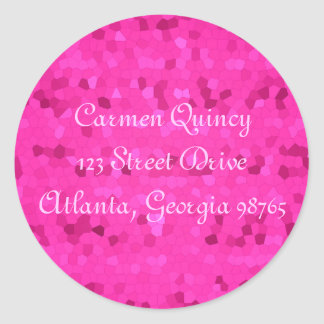 Deep Pink Stain Glass Classic Round Sticker