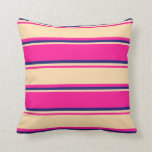 [ Thumbnail: Deep Pink, Tan, and Midnight Blue Colored Lines Throw Pillow ]