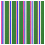 [ Thumbnail: Deep Pink, Tan, Blue, White & Dark Green Lines Fabric ]