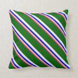 [ Thumbnail: Deep Pink, Tan, Blue, White & Dark Green Lines Throw Pillow ]