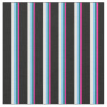 [ Thumbnail: Deep Pink, Teal, Light Sky Blue, White & Black Fabric ]