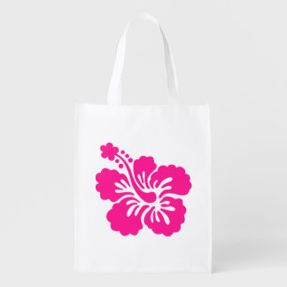 Deep Pink Tropical Hibiscus Flower Reusable Grocery Bags