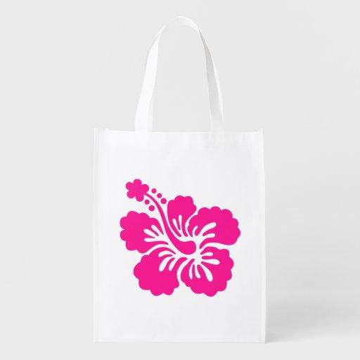 Deep Pink Tropical Hibiscus Flower Reusable Grocery Bag
