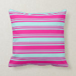 [ Thumbnail: Deep Pink & Turquoise Colored Lines Throw Pillow ]