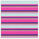 [ Thumbnail: Deep Pink, Turquoise, Red & Blue Stripes Pattern Fabric ]