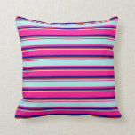[ Thumbnail: Deep Pink, Turquoise, Red & Blue Stripes Pattern Throw Pillow ]