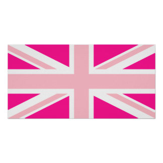 Deep Pink Union Jack Poster