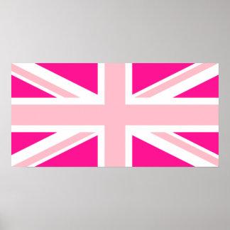 Deep Pink Union Jack Poster