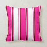 [ Thumbnail: Deep Pink, White, and Maroon Colored Pattern Throw Pillow ]