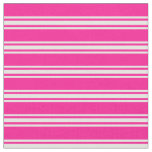 [ Thumbnail: Deep Pink & White Lined Pattern Fabric ]