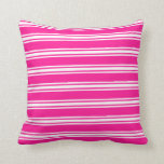 [ Thumbnail: Deep Pink & White Lined Pattern Throw Pillow ]