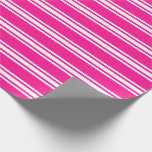 [ Thumbnail: Deep Pink & White Lined Pattern Wrapping Paper ]