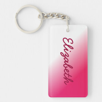 Deep Pink White Ombre Keychain