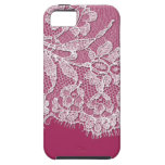 Deep Pink with White Lace iPhone 5 Case