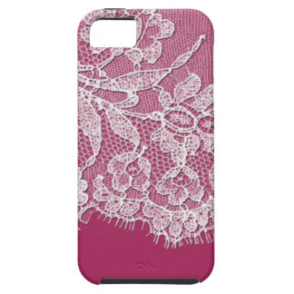 Deep Pink with White Lace iPhone SE/5/5s Case
