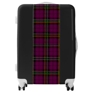 Deep plum/purpl plaid suitcase bag, flight bag