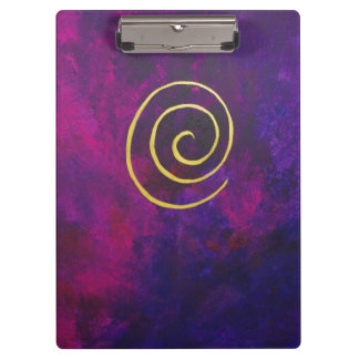 Deep Purple And Gold Modern Abstract Art Painting Clipboard