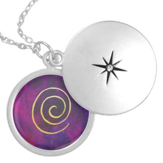 Deep Purple And Gold Modern Abstract Art Painting Necklace