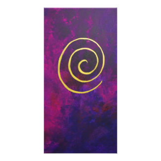 Deep Purple And Gold Modern Abstract Art Painting Photo Card Template