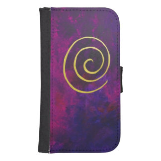 Deep Purple And Gold Modern Abstract Art Painting Galaxy S4 Wallets