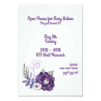Deep Purple and Silver Floral Group With Feather Card