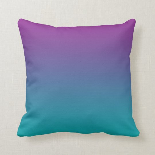 Deep Purple And Teal Ombre Throw Pillow Zazzle Com