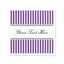 Deep purple and white striped napkins for wedding