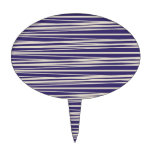 Deep Purple and White Stripes Pattern Gifts Oval Cake Toppers