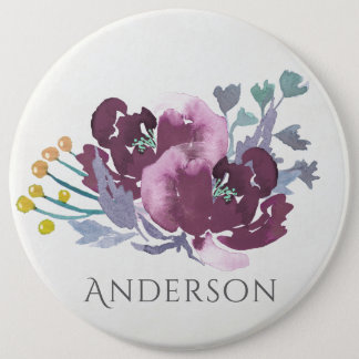 DEEP PURPLE, AQUA BLUE WATERCOLOUR FLORAL MONOGRAM BUTTON