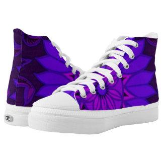 Deep Purple Art Deco Design High-Top Sneakers