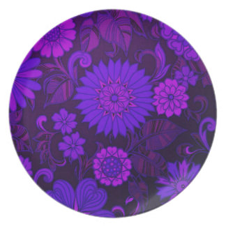 Deep Purple Art Deco Design Melamine Plate