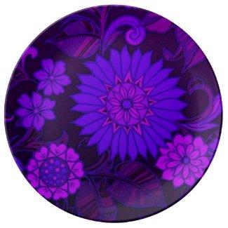 Deep Purple Art Deco Design Porcelain Plates