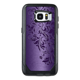 Deep Purple Background & Girly Floral Lace Edge OtterBox Samsung Galaxy S7 Edge Case