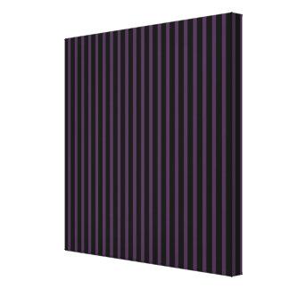 Deep Purple Black Stripe Canvas Print