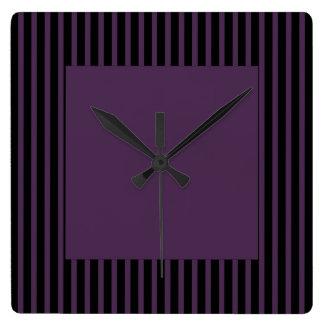 Deep Purple Black Stripe Square Wall Clock